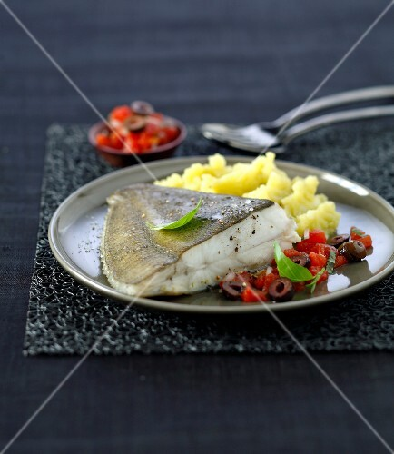 Pan-fried turbot in virgin sauce,mashed potatoes with olive oil