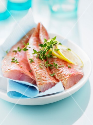 Raw red mullet fillets