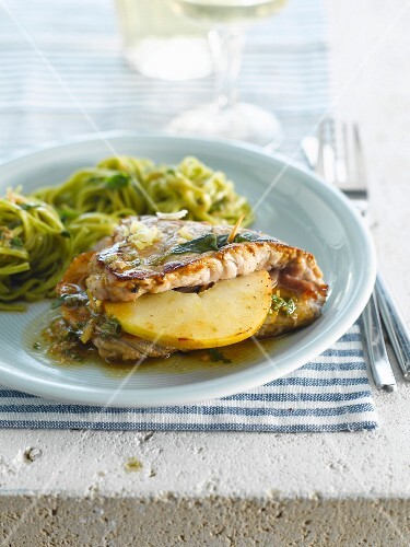 Veal Saltimbocca with apples and sage, green fettucellis