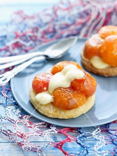 Pan-fried apricots and yoghurt mousse shortbread tartlets