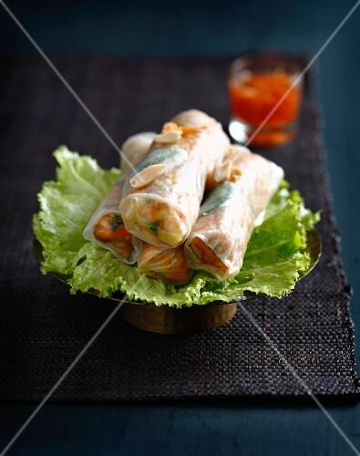 Pork,mint and peanut spring rolls