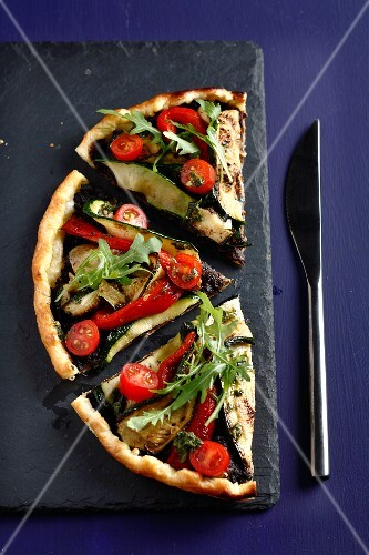 Vegetable,tapenade and pistou savoury tart