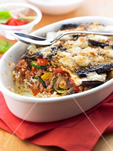 Moussaka, ratatouille and rice gratin