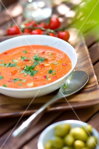 Tomato gazpacho outdoors