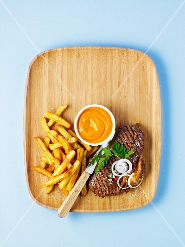 Grilled rump steak with french fries