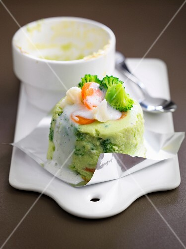 Broccoli puree and carrot timbale