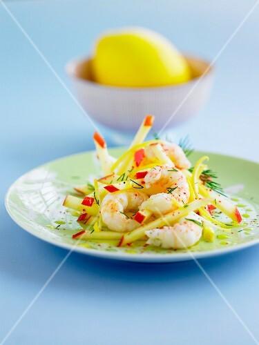 Dublin Bay prawn,apple and lemon salad