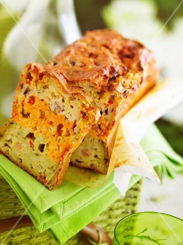 Three layered vegetarian savoury cake