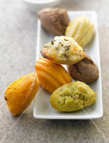 Different flavored savoury mini Madeleines