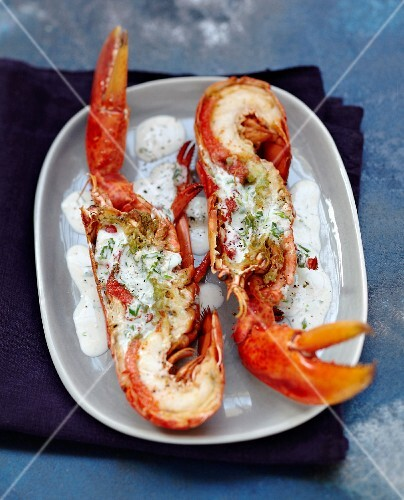 Grilled lobster in creamy sauce