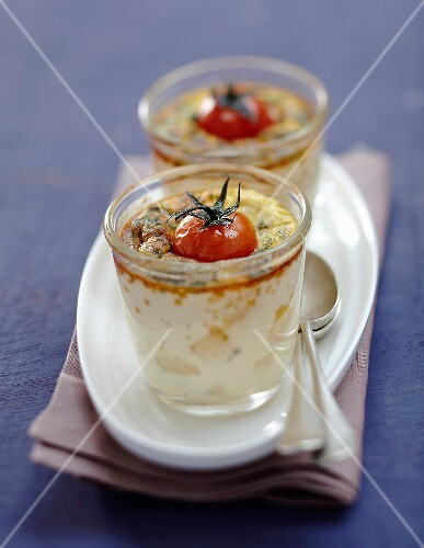 Parmesan,herb and cherry tomato individual flans