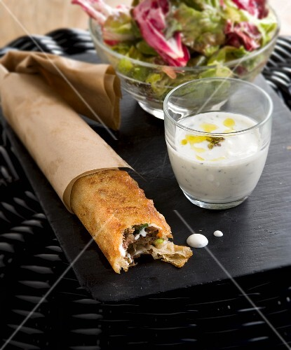 Meat and filo pastry roll