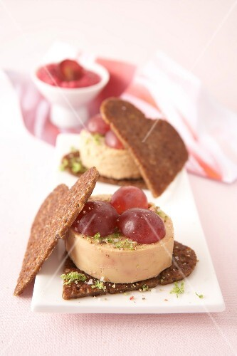 Foie gras,red grape,hummus and beetroot crunchy heart