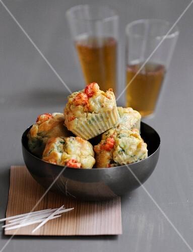 Mini crayfish-leek cakes