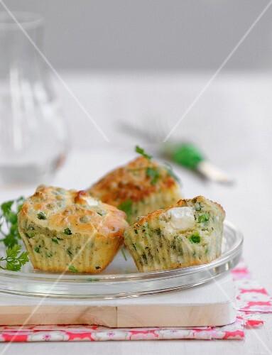 Mini pea,feta and chervil cakes