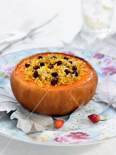 Corean pumpkin stuffed with basmati rice and black olives