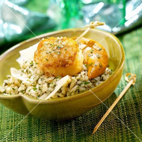 Herb risotto,roasted scallop with nutmeg