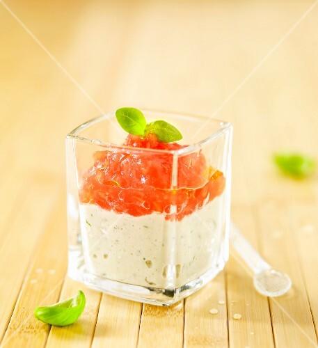 Tomato flesh with cold basil cream