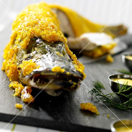 Pike in saffron bulghour crust
