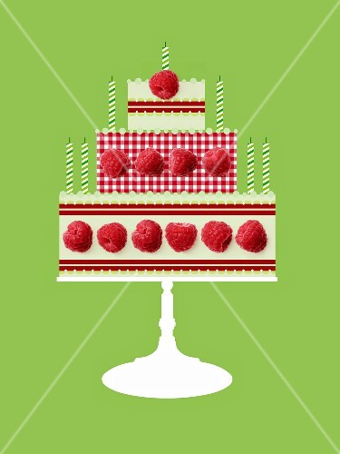 Birthday cake pattern made with raspberries