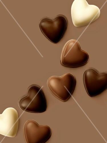Dark,milk and white heart-shaped chocolates
