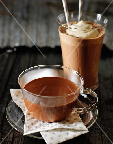 Chocolate milkshake and hot chocolate