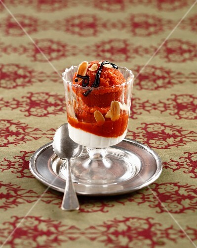 Tomato and strawberry sorbet with balsamic vinegar