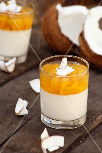 Exotic panna cotta with mango and coconut