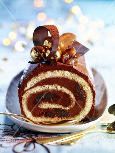 Chocolate and candied chestnut Swiss roll