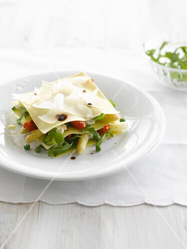 Vegetable and feta lasagnes