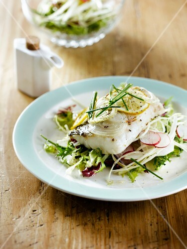 Steamed cod with lemon,cabbage and radish salad