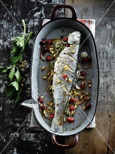 Trout with cranberries and pine nuts