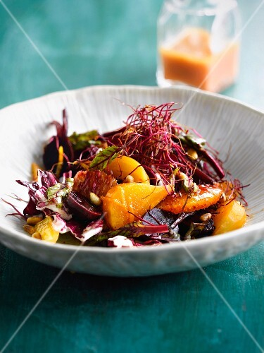 Sweet and sour beetroot,turnip and orange salad