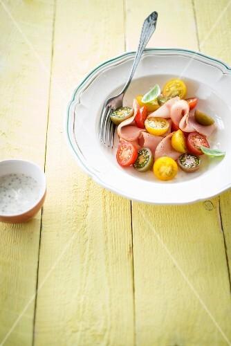 Cherry tomato and turkey salad