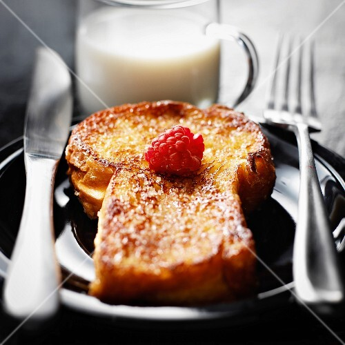 Brioche french toast and a glass of milk