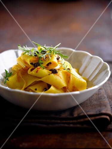 Parpadelle with saffron and thinly chopped truffles