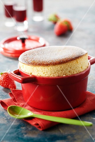 Plougastel strawberry and rhubarb soufflé
