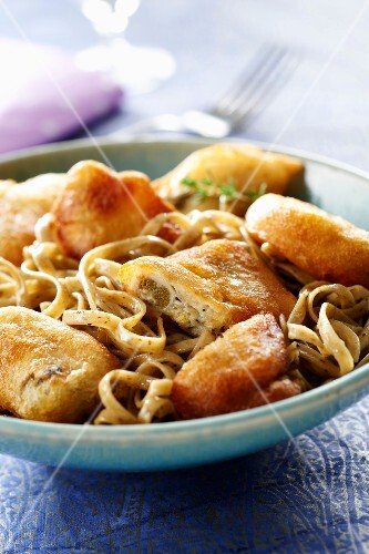 Fettuccine with savory and oyster fritters