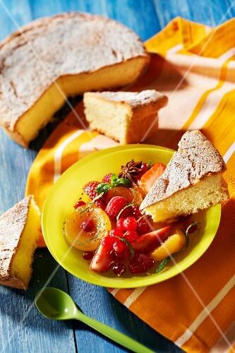 Pontarlier anis cake with fresh fruit salad