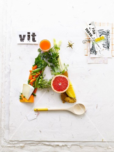 Chemical symbol vitamin A written with food