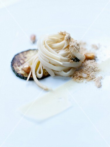 Fettucine with palm hearts and zucchinis, butter,sage and ground popcorn