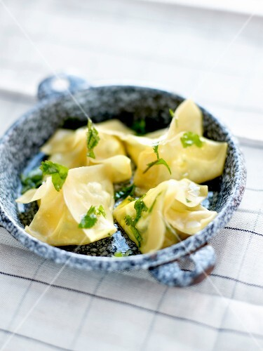 Cheese and herb raviolis