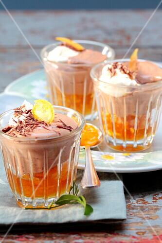 Light chocolate mousse with confit citrus fruit