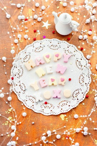 Happy New Year written with marshmallow letters