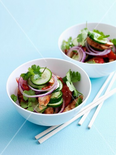Cucumber,tomato and sliced and grilled chicken breast salad
