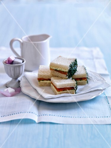 Smoked salmon,cucumber,cream cheese and dill sandwiches