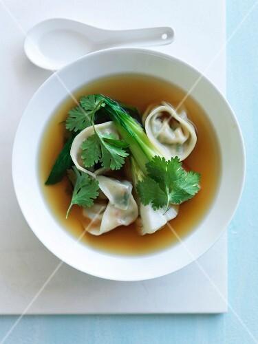Pak-choi broth with vegetable dumplings