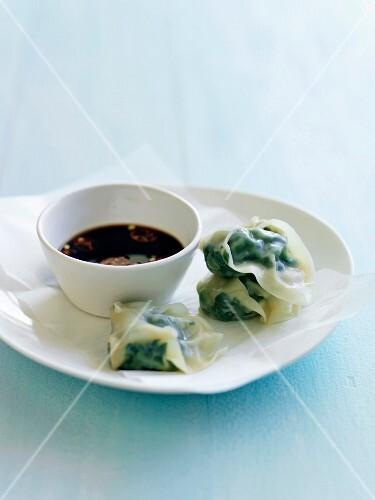 Steamed swiss chard dumplings