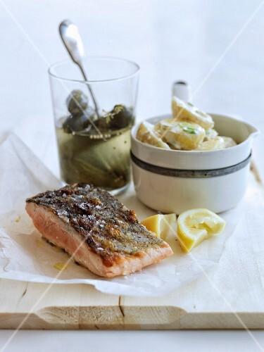 Grilled salmon and creamy lemon-flavored potato salad