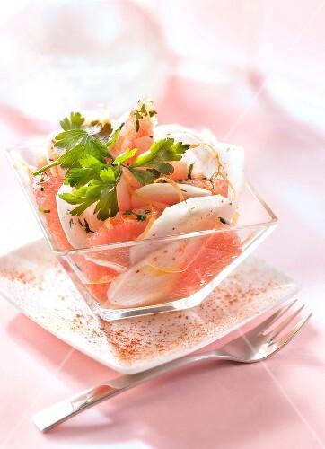 Celeriac and pink grapefruit salad